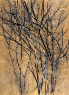 charred tea tree. pigment and acrylic on canvas