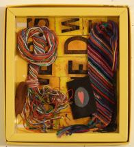 lovers-loved: items from my daughter and her father, paper plastic coated wire, embroidery thread, chocolate box, pins