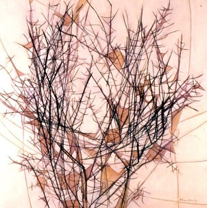 webs in christmas bush: pigment and acrylic on canvas