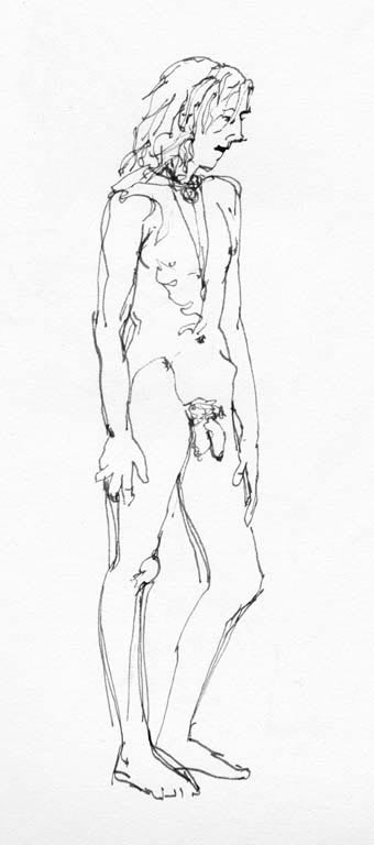 young man standing (ink on paper)