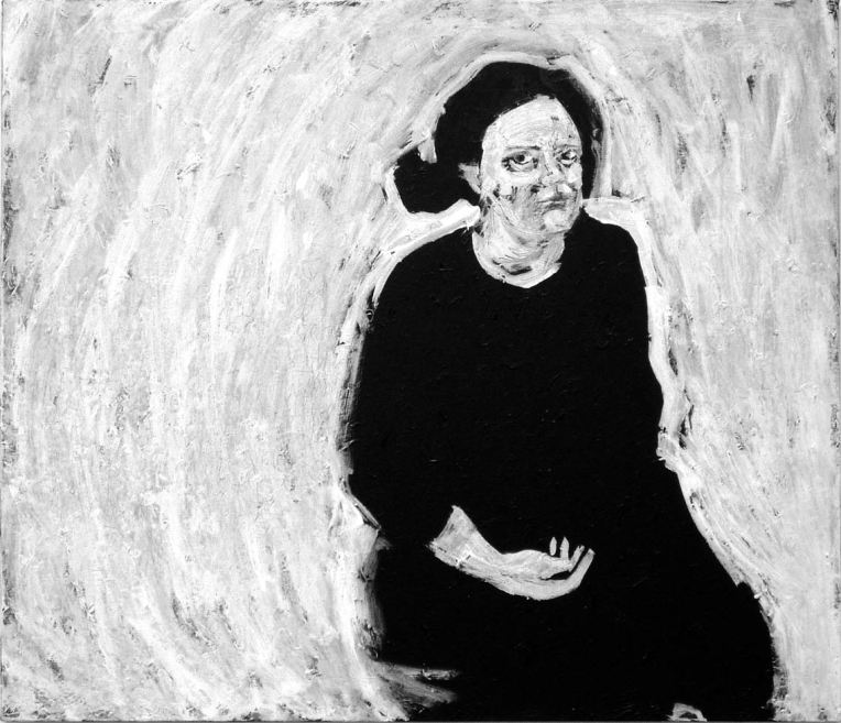 Self Portrait with Hand in Lap, acrylic and kaolin on canvas