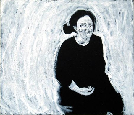 Self Portrait hand in lap (acrylic on canvas)