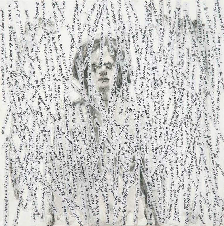 self-portrait-with-thoughts (ink,paper, and wax on canvas)
