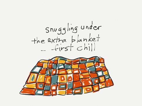 snuggling under/the extra blanket/--first chill