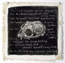 For I Will Consider My Cat George. plaster and ink on canvas. © Belinda Broughton