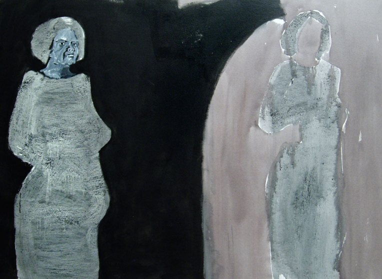 Self and Shadow-Self, pigment, charcoal and acrylic on canvas, © Belinda Broughton