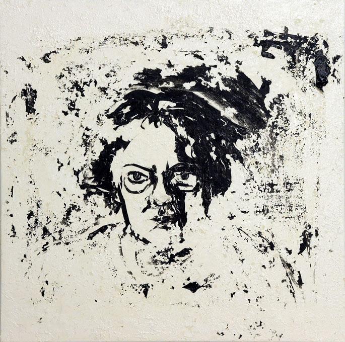 Self Portrait Dissolving, Acrylic and Kaolin on canvas, © Belinda Broughton