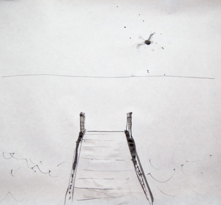 pier, ink on paper, © Belinda Broughton
