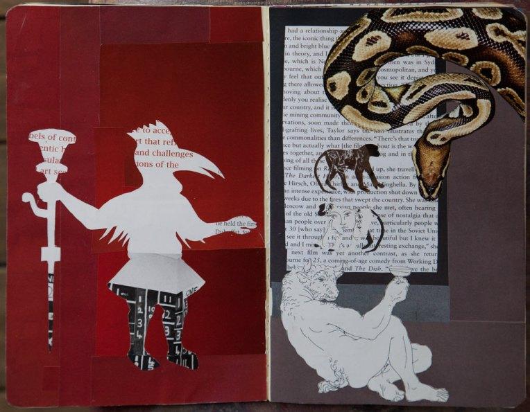 Minotaur, notebook spread with collage, © Belinda Broughton
