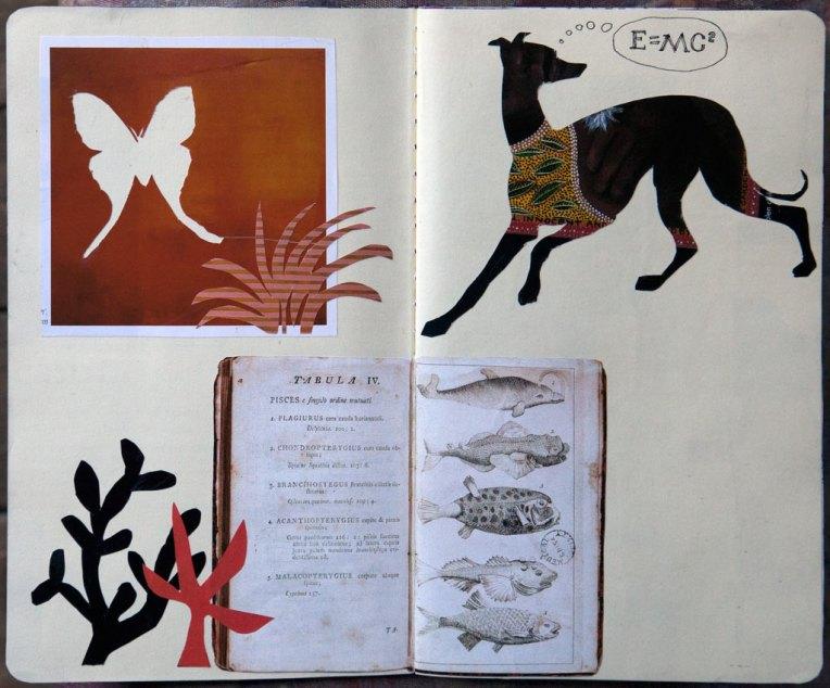 Hound E = Mc2, notebook spread with collage, © Belinda Broughton