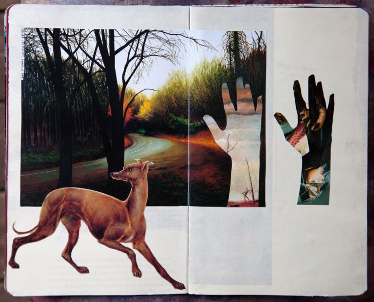 Hound Road, notebook spread with collage, © Belinda Broughton