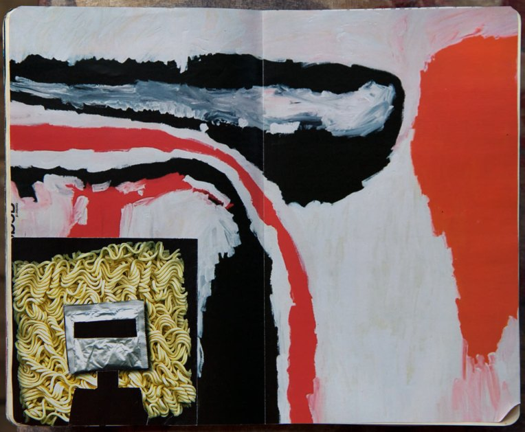 Noodle Ned, notebook spread with collage, © Belinda Broughton