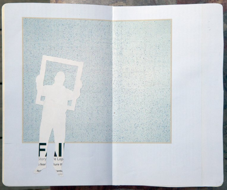 Frame, notebook spread with collage, © Belinda Broughton