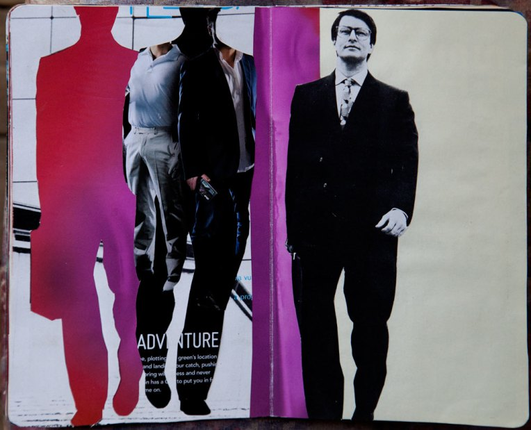 Walking Man,  notebook spread with collage, © Belinda Broughton
