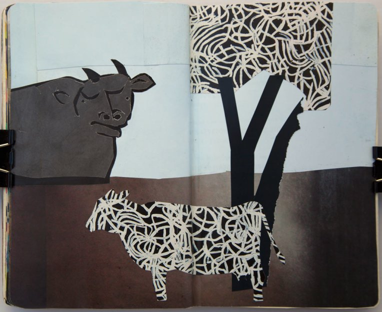 Emily's Cow, Pablo's Bull collage in moleskin © Belinda Broughton