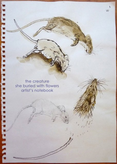 the creature/she buried with flowers/artist's notebook