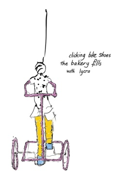 clicking bike shoes /the bakery fills/with lycra