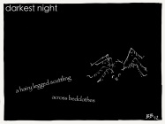 darkest night / a hairy legged scuttling / across bedclothes